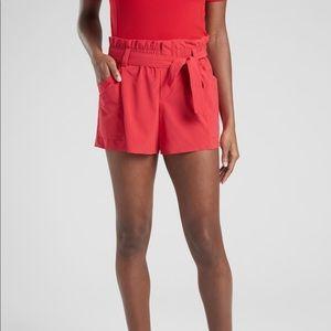 Athleta Skyline Shorts Paper Bag Belt Hibiscus Red